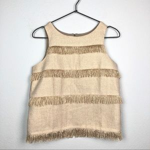 Anthropologie Sunday in Brooklyn Gold Fringe Top S